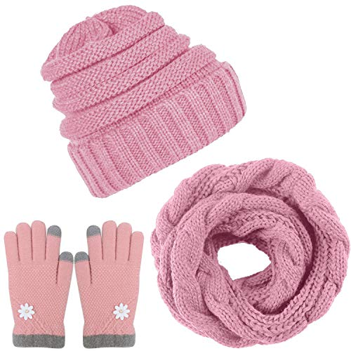 itted Scarf Beanie Hat and Gloves Set Men & Women's Soft Stretch Hat Scarf and Mitten Set ()
