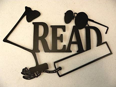 Metal Wall Art Decor Read Word And Lamp - Wall Sculptures - Amazon.com