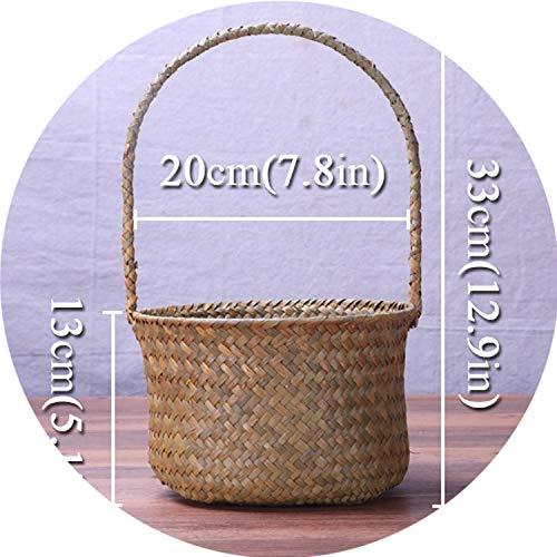 Storage Basket Handmade Wicker Basket Sundries Neatening Picnic for Fruit Hanging Flower Basket Rattan Container Straw Storage Organizer Small,Round ()