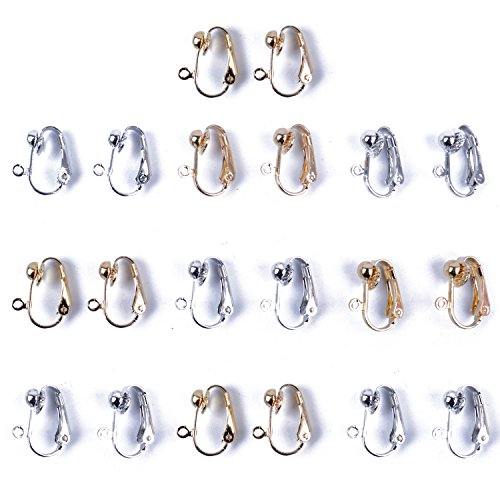 BronaGrand 20pcs Clip-on Earring Converter with Easy Open Loop, Gold and Silver