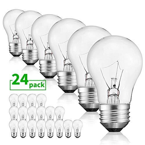 40 Watt Warm White Bulbs Bright and Long Lasting Appliance Light A15 Ceiling Fan Light Bulb Incandescent with E26 E27 Medium Base, 24 Packs