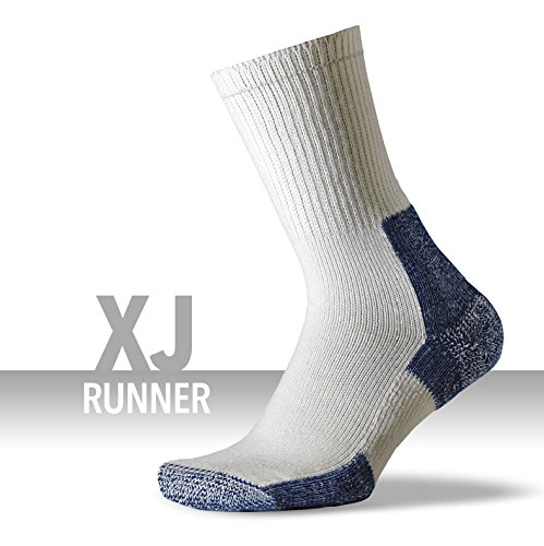 Thorlos Unisex XJ Running Thick Padded Crew Sock, White, Large