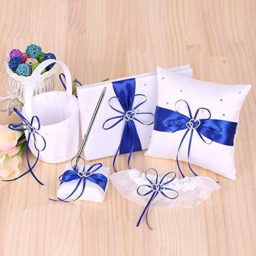 BERTERI 5pcs Wedding Supplies Set with Flower Girl Basket Ring Bearer Pillow Guest Book Pen Holder Bride Garter White Satin from BERTERI