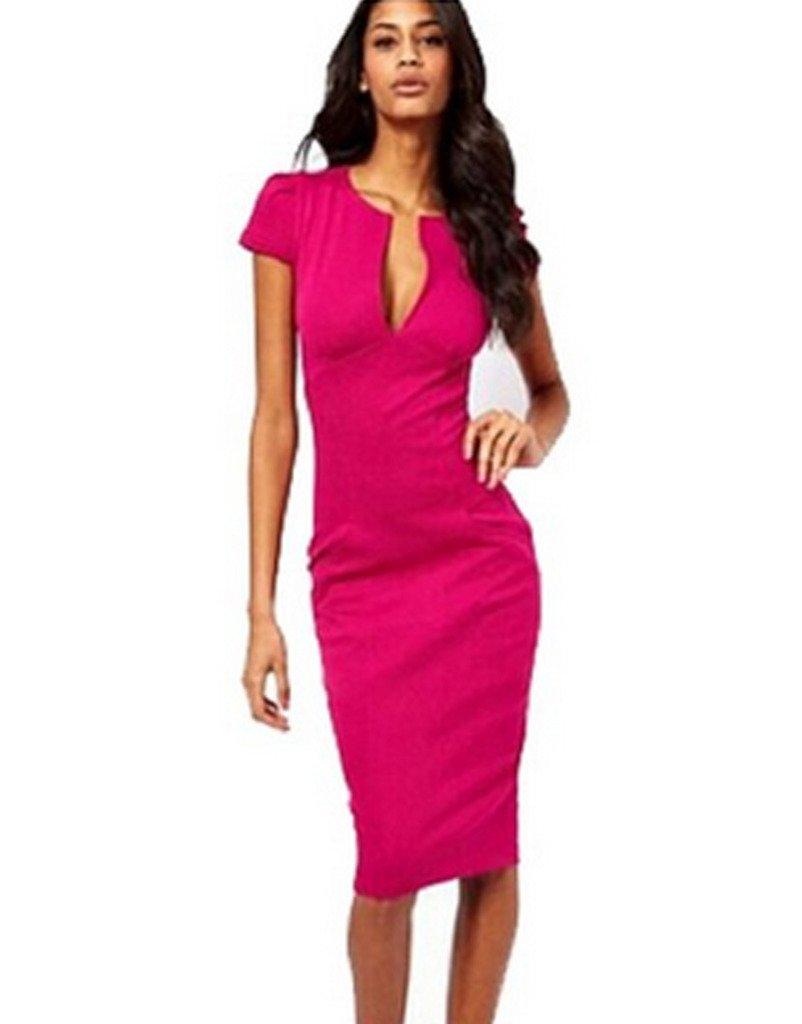 Minetom Women's V-Neck office pencil dress & Short Sleeve Midi Pencil Dress