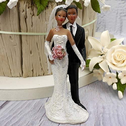 Artif Couple de mari/és Noirs en r/ésine Figurines de pi/èce mont/ée de 12 cm de Haut