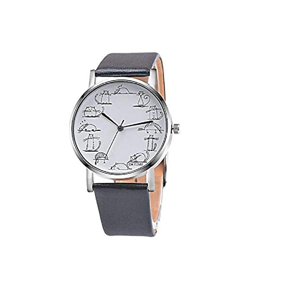 Amazon.com: Windoson Womens Mens Unisex Quartz Watch, Unique Analog Fashion Casual Wristwatch with Round Dial Case,Comfortable Faux Leather Band (Pink): ...