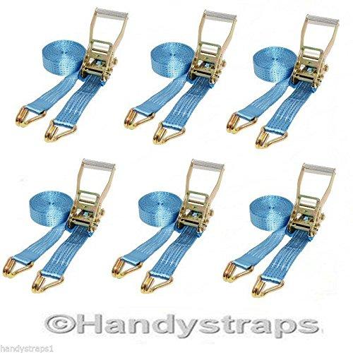 6 X 8 meter 50mm Blue Ratchet Tie Down Straps 5 tons HandyStraps