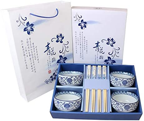 Oriental Chino Azul y Blanco Porcelana vajilla Set - Caja de Regalo