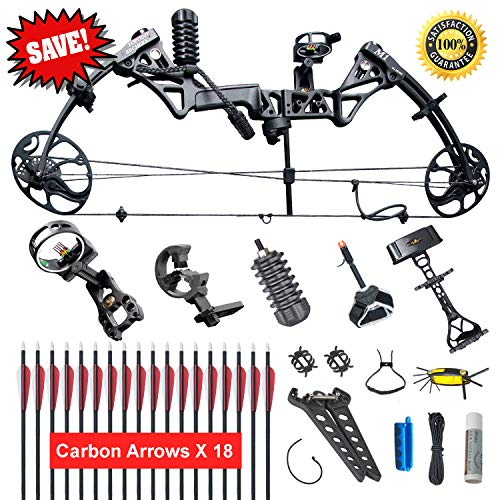 XGeek Compound Bow,Compound Hunting Bow Kit,Limbs Made in USA,19-30 Draw Length,19-70Lbs Draw Weight,Up to 320FPS, (2 Years Warranty)