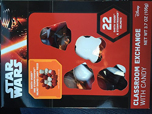 Disney Star Wars Darth Vader and Stormtrooper Classroom Valentine Day Hearts with Candy 22 Pack (Star Wars Candy)