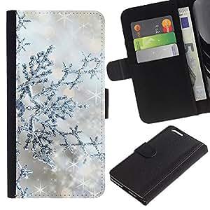 EJOY---La carpeta del tirón la caja de cuero de alta calidad de la PU Caso protector / Apple Iphone 6 PLUS 5.5 / --Plata Winter Stars Sparkle