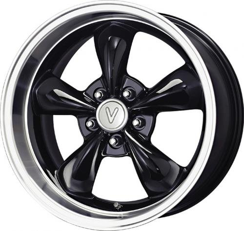114.3 Replica Wheel (Vöxx Replica Bullet Mustang Gloss Black Wheel with Machined Lip (17x9