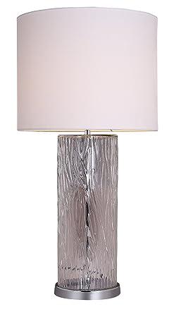 Lámpara de mesa de cristal efecto acero Design y pantalla ...