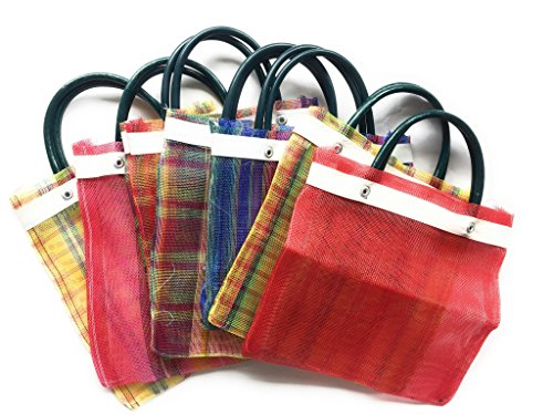 Mini Mexican Tote Favor Bags (Mexican Candy Bags - Mexican Mercado Bags - Mexican Mesh Bags - Bolsas Para Fiestas) 10 x 7 - Multi-Colored - Set of 6 PLUS 1 FREE