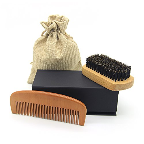 Beard Brush & Comb Set for Men Care – Handmade Wood Grooming & Trimming Kit for Men's Mustache, Beard Shaping and Styling Sets for Dry or Wet Beards – Giftbox and Friendly Bag
