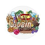 DIYthinker Prado Seafood Spain Graffiti Anti-slip Floor Pet Mat Round Bathroom Living Room Kitchen Door 80cm Gift