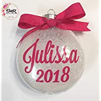 Monogram Glitter Custom CHRISTMAS TREE ORNAMENT with NAME and YEAR - Personalized/Customized Hanging GIFT Idea - Safe Plastic - D&R Decor