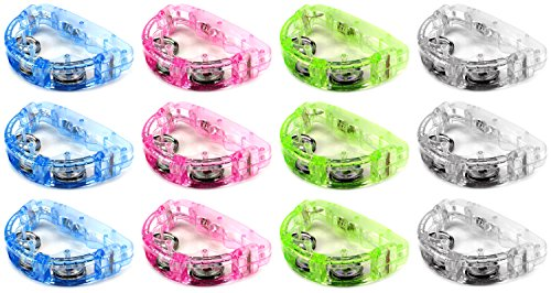 Set of 12 Flashing Light Tambourine Children's Kid's Novelty Toy Noise Maker w/ 3 Light Patterns, Perfect for Party Favors, Goodie Bags (Colors May Vary)]()