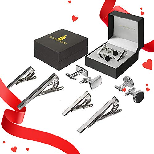 - Mr American Cufflink and Tie Clip Two Sets with Gift Box Black and Silver