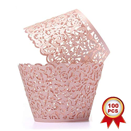 SUYEPER 100pcs Cupcake Wrappers Artistic Bake Cake Paper Cups Little Vine Lace Laser Cut Liner Baking Cup Muffin Case Trays for Wedding Party Birthday Decoration (Pink)