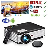 EUG HD LCD Projector WiFi 1080P 1280x800 Pixels Outside/Home Theater Projectors with HDMI USB VGA Aux Audio Android Movie Projector Wireless for Apps,Airplay, Mobile Phone Computer DVD Player TV Box