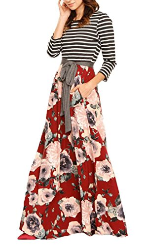 Stampa Vestito Tasche Floreale Bltr Rosse 4 Manica Vita Cravatta Maxi Con Righe 3 donne A 8awqPW8Ov