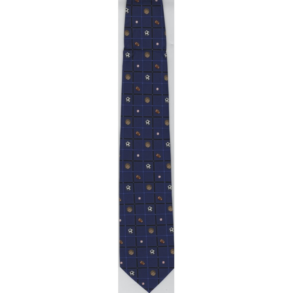 50 Youth Neck Tie - Sports Balls - Blue