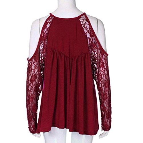 6aaac73d7b15 ... Hemden Mode Ärmel Spitze Shirts T Weich Damen Sexy Bluse Schulter  Ausschnitt Trägerlos Lange Baumwolle Bluse ...