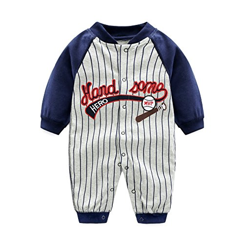 AIKSSOO Infant Toddler Baby Outfit Stripe Jersey Style Onesies Printed Romper Size 3M (Gray ()