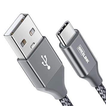 BrexLink Cable USB Tipo C Carga Rapida [2M,1 Pack], Tipo C Cargador de Nylon Trenzado para Samsung S8 S9 Plus,Huawei P20 Lite P9,Xiaomi Mi A1/2 Redmi ...