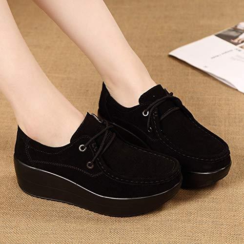Eu Gris Cuero La Qiusa Mocasines Con Tamaño Negro Suela color Zapatos Plataforma De Rocker Mujer Cordones 39 w7q6xH