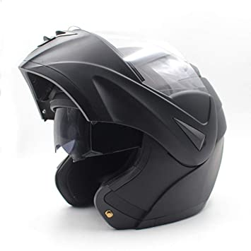 LY-YY Casco de Ciclismo Hombre Motocicleta Bluetooth Casco Macho Eléctrico Vehículo Media Casco Doble