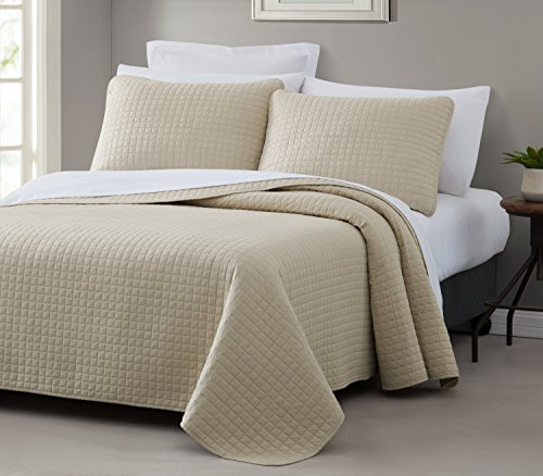 Attitude 3pc Quilted Coverlet Set Tan King/Cal-King Size (108''x96'') PREWASHED Cover Set, Square Stitched Design, Soft to the touch texture Microfabric Shell 100% Cotton Bed Cover by Cozy Beddings by Cozy Beddings