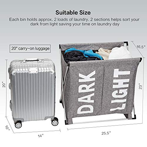 HOMEST Large 2 Section Laundry Hamper Sorter Basket with X-Frame 25.5''×23''H Washing Storage Dirty Clothes Bag for Bathroom Bedroom Home College Use, Grey by HOMEST (Image #3)