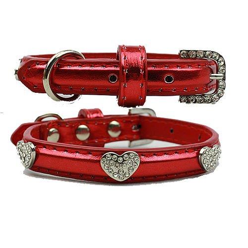BINGPET BA2036X personalized Rhinestone diamond Leather Puppy funny girl Dog pet Collars -Red Medium