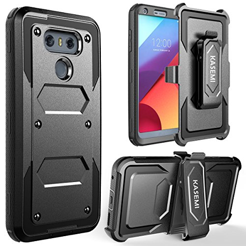 Price comparison product image LG G6 Case, KASEMI [Built in Screen Protector] Heavy Duty Dual Layer Protection Locking Belt Swivel Clip Holster with Kickstand - Black