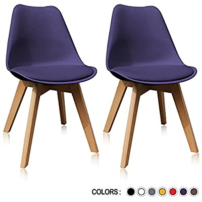 Krei Hejmo Plastic Dining Chair Side Chair with Wooden Base - Set of Two (2)