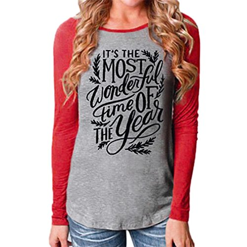 Peace Long Sleeve V-neck (KESEE Clearance Clothes Women Christmas Casual V Neck Blouse Loose Tops Printed : Joy Love Peace T-Shirt Tunic Tops (S, Red 2))