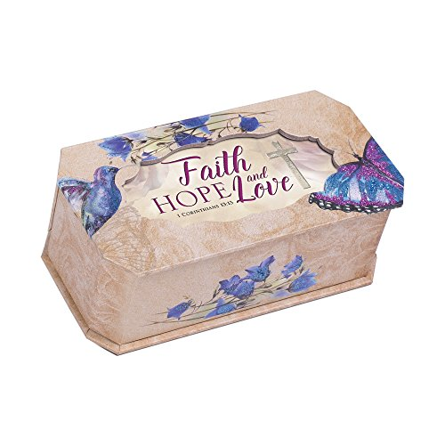 Cottage Garden Faith Hope And Love Butterfly and Bird Glitter Musical Box Plays Tune How Great Thou Art
