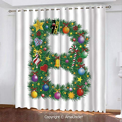 PUTIEN Custom Window Curtains,Letter B,Tasty Candy Cane and Figure with Top Hat Suit Christmas Tree Design with B Print,Multicolor Pattern,W108.3xL84.3 Inches,Decoration Item for Your Home