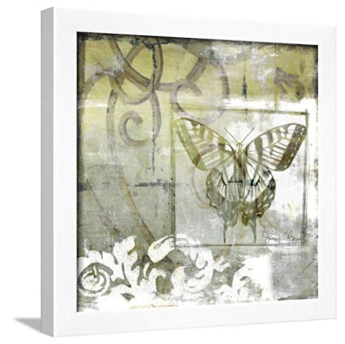 ArtEdge Non-Embld. Butterfly & Ironwork III by Jennifer Goldberger, Wall Art Framed Print, 16x16, White Unmatted