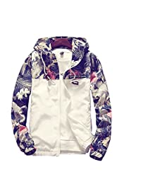 Bluebrand Men Fashion Floral Printed Baseball Bomber Jackets Coat