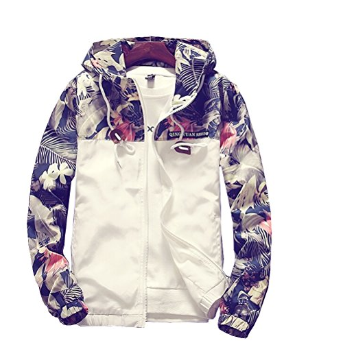 Tuesdays2 Floral Bomber Jacket Men Hip Hop Slim Fit Flowers Bomber Jacket Coat Men's Hooded Jackets Plus Size (M, Color 1)