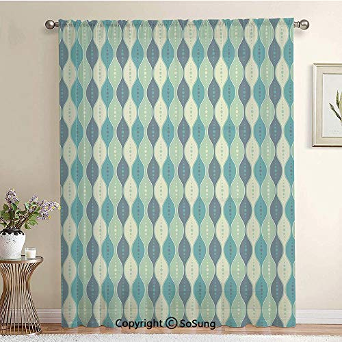 - Oval Curved Vertical Lines with Classic Effects Dots Retro Graphic Decorative Extra Wide Sheer Window Curtain Panel for Large Window,Sliding Glass Door,Patio Door,1 panel,102 x 84 Inch,Sea Green Petro