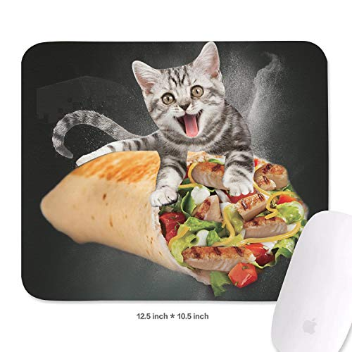 (Family Game Office Mousepad Space Galaxy Cat in A Burrito Funny Comfortable Non-Slip Rubber Rectangular Mousepad)