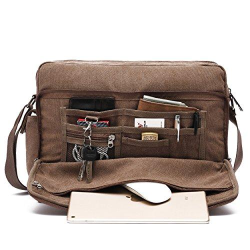 Mlife Men Brand Multi-Pockets Canvas Messenger Bag 15.6 inch Laptop Shoulder Bag (Brown - Large) (Brown Canvas Bag)
