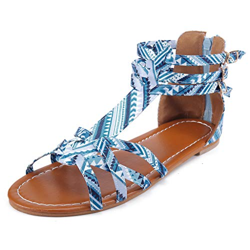 (Respctful✿Womens Boho Lace-Up Flats Sandals Criss Cross Ankle Wrap Summer Beach Sandal Ladies Casual Flat Shoes Blue)