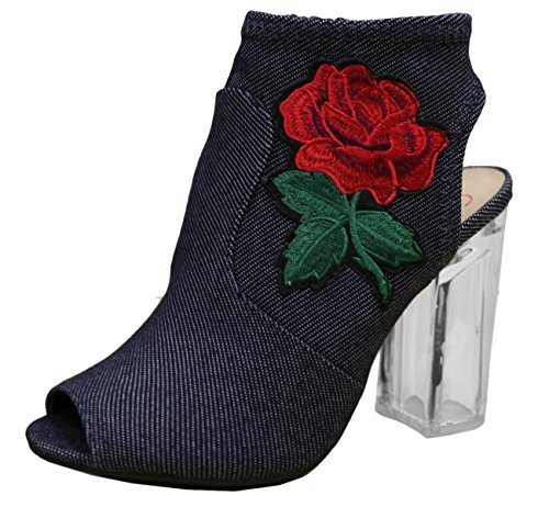 Delicious Merit Womens Embroidered Rose Floral Lucite Clear Heel Peep Toe Bootie Blue Denim 7 5