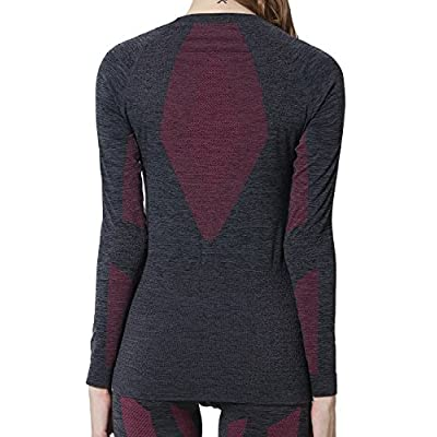 YOOY Women's Ski Thermal Underwear Set Quick Dry Funktion Activewear Ladies Sports Long Sleeve Outdoors Shirts and Pants: Clothing