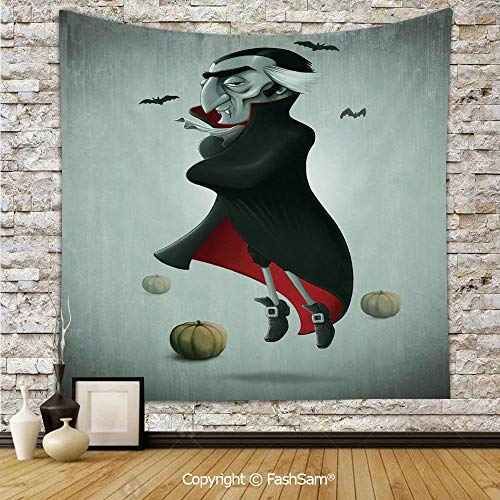 FashSam Tapestry Wall Blanket Wall Decor Creepy Halloween Night Pumpkins and Old Vampire with Cape Flying Bats Home Decorations for Bedroom(W51xL59) ()